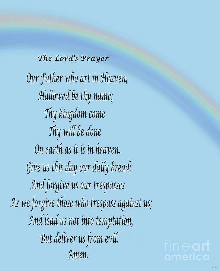 The Lord's Prayer With Rainbow Digital Art by Barbara Griffin