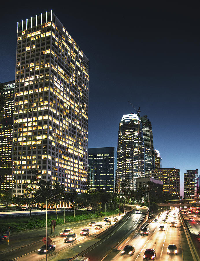 The Los Angeles Downtown Skyline On The Photograph by Franckreporter