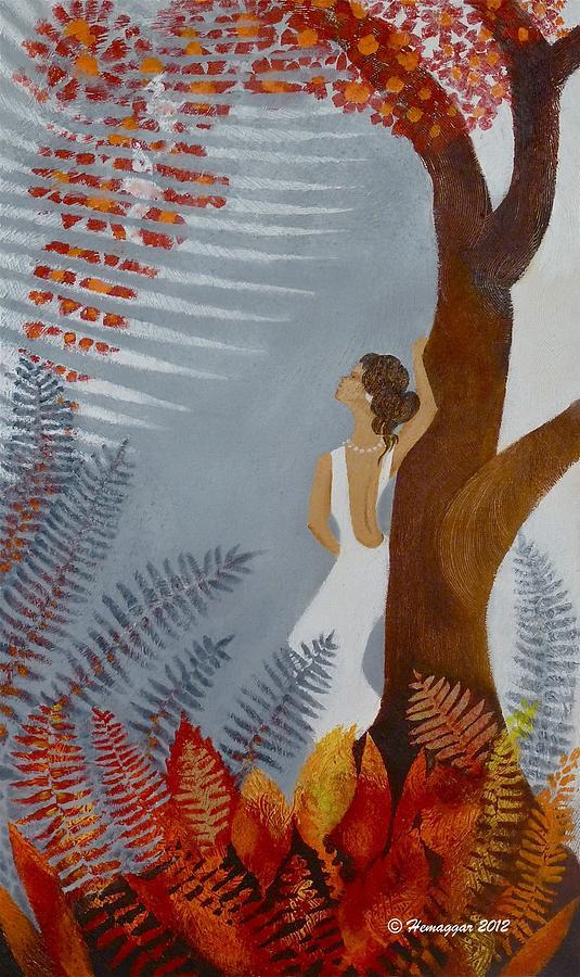 Woman Painting - The Love Birds by Hemu Aggarwal