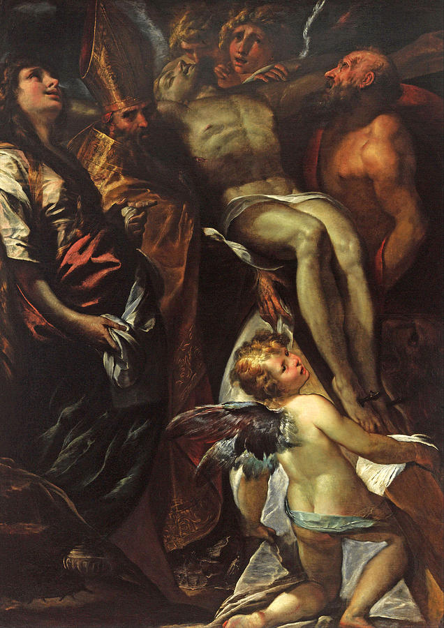 Augustine Painting - The Lowering Of The Cross With Sts Mary Magdalene Augustine Jerome And Angels by Giulio Cesare Procaccini
