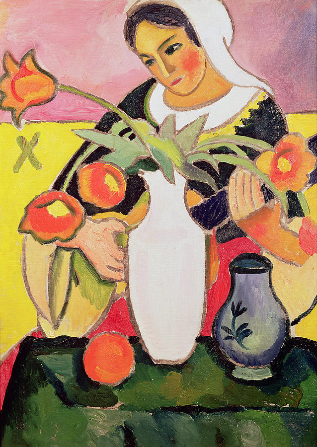 Female Painting - The Lute Player by August Macke