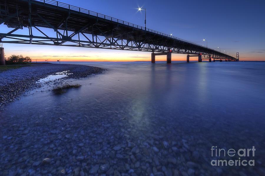 Mackinac Photograph - The Mackinac Bridge At Dusk by Twenty Two North Photography