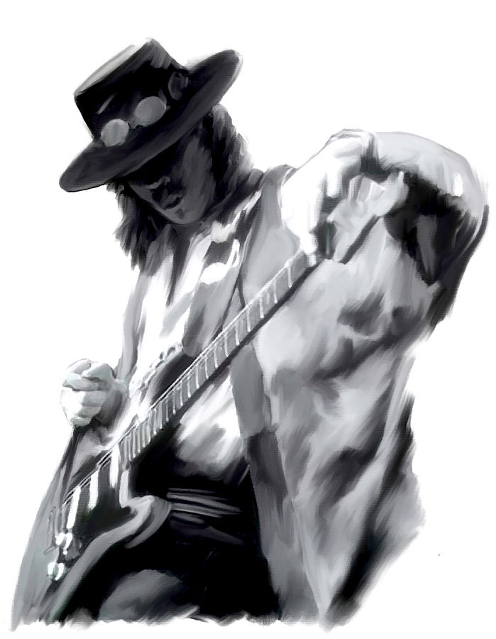 Stevie Ray Vaughan Collectibles Painting - The Maestro   Stevie Ray Vaughan by Iconic Images Art Gallery David Pucciarelli