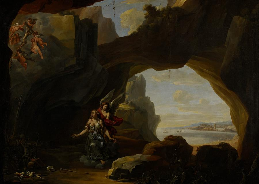 Mary Magdalen; Magdalene; Cave; Cavern; Arch; Sea; Landscape; Coast; Coastal; Vision; Putti; Jesus Christ; Cross; Crucifix; Angel; Angels; Weeping; Crying; Sorrow; Sad; Religion; Religious; Christian; Christianity; Saint; Saints Painting - The Magdalen In A Cave by Johannes Lingelbach