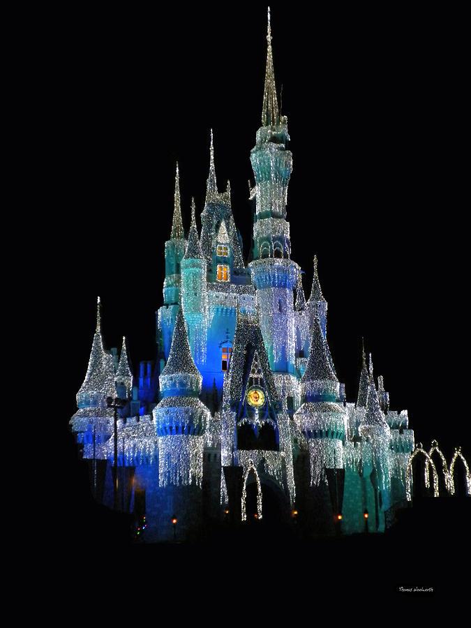 The Magic Kingdom Castle In Frosty Dark Blue Walt Disney World Photograph By Thomas Woolworth