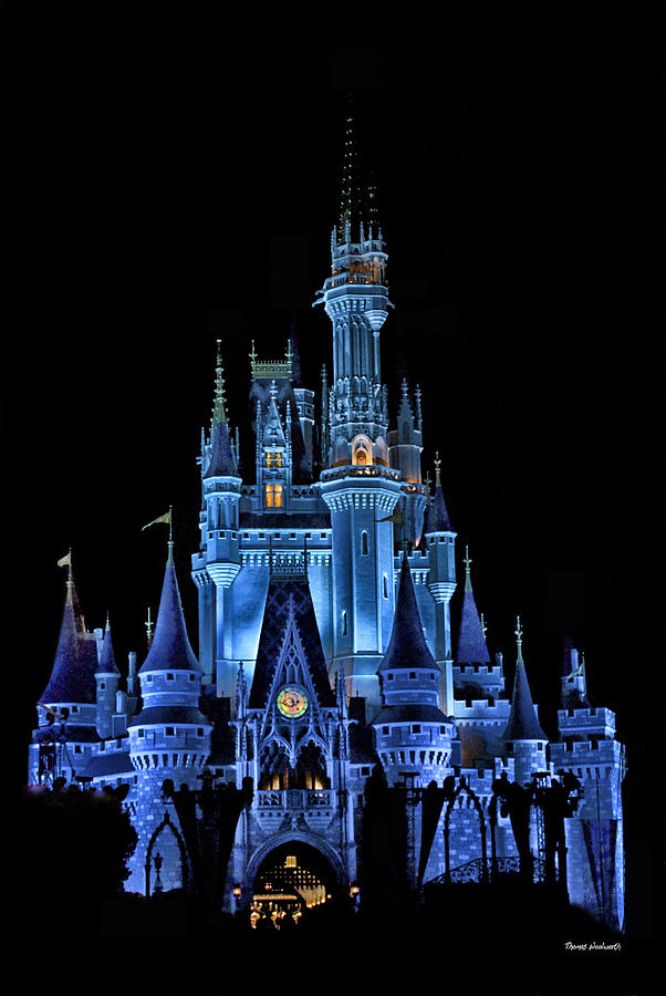 Magic Kingdom Photograph - The Magic Kingdom Castle In Very Deep Blue Walt Disney World Fl by Thomas Woolworth