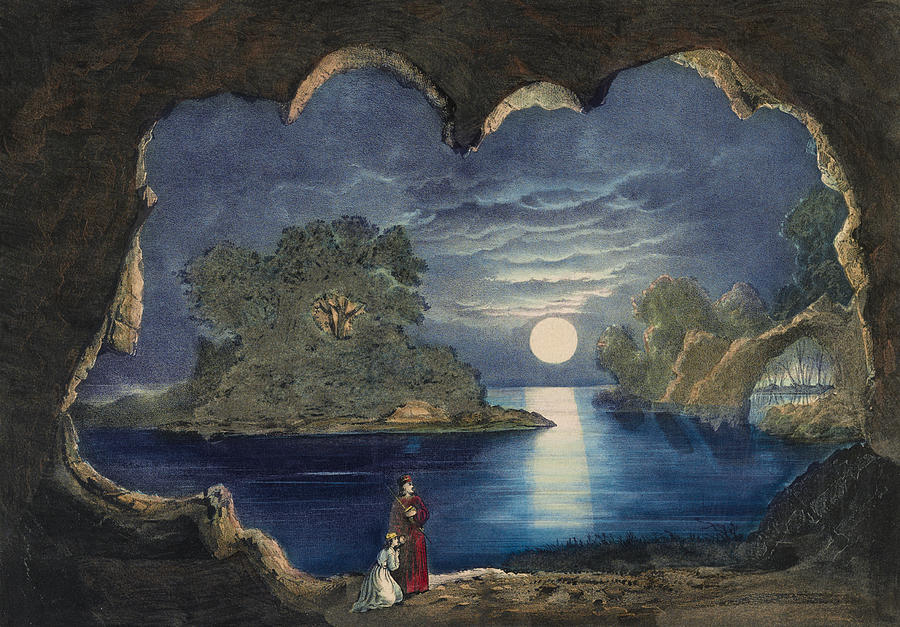 1859 Painting - The Magic Lake Circa 1856  by Aged Pixel