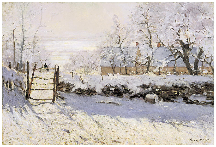 The Magpie Painting - The Magpie Snow Effect by Claude Monet