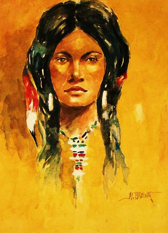 Indian Maiden Painting - The Maiden II by Al Brown