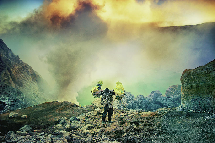 Ijen Photograph - The Man From Green Crater by Ismail Raja Sulbar