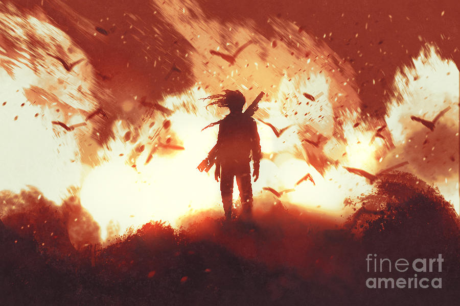 Heat Digital Art - The Man With A Gun Standing Against by Tithi Luadthong
