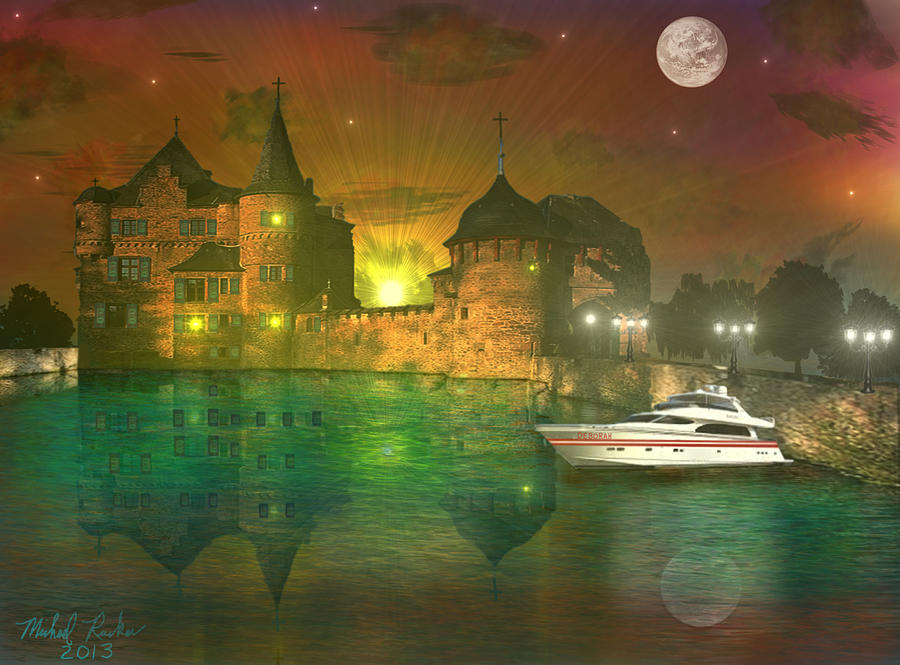 Ocean Front Property Digital Art - The Mansion by Michael Rucker