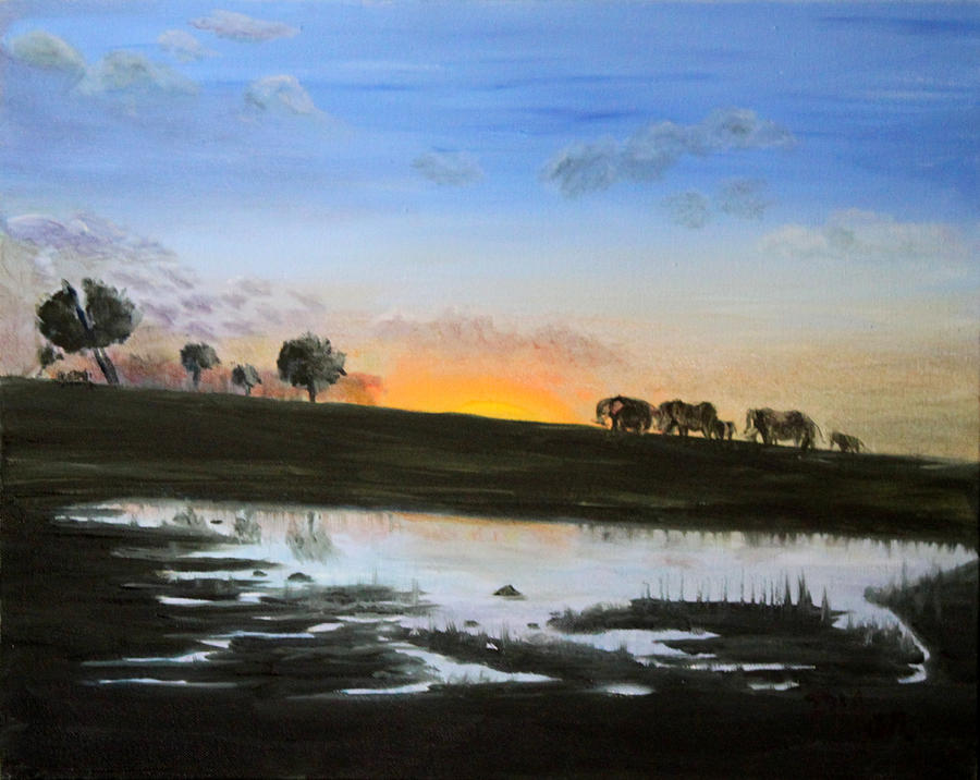 Elephants Painting - The March Of The Elephants by Pilar  Martinez-Byrne