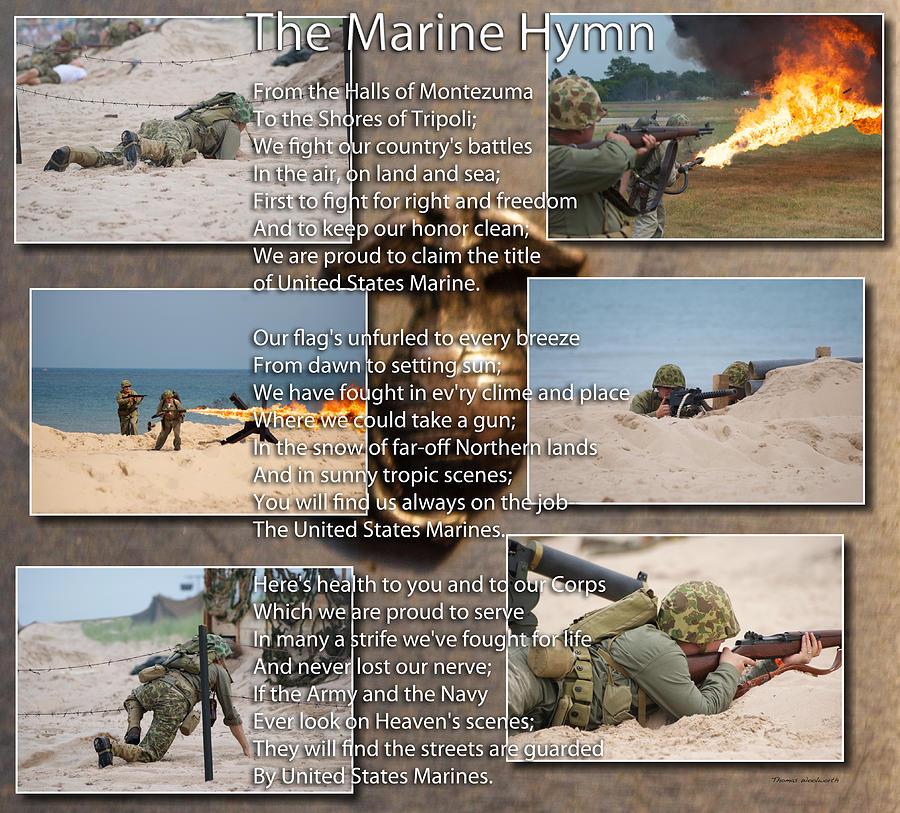 Usmc Photograph - The Marine Corp Hymn by Thomas Woolworth
