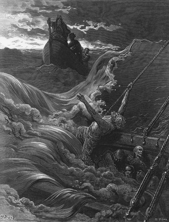 Gustave Drawing - The Mariner As His Ship Is Sinking Sees The Boat With The Hermit And Pilot by Gustave Dore