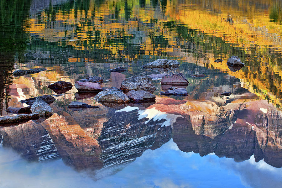 Autumn Colors Photograph - The Maroon Bells Reflected by Jim Garrison