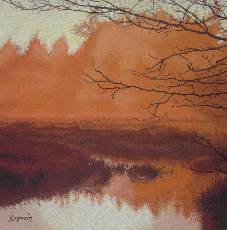 Marsh Painting - The Marsh Before The Sun Breaks by Harvey Rogosin