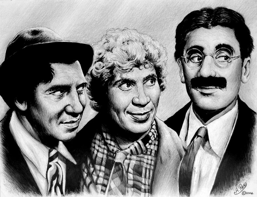 The Marx Brothers Drawing - The Marx Brothers by Andrew Read