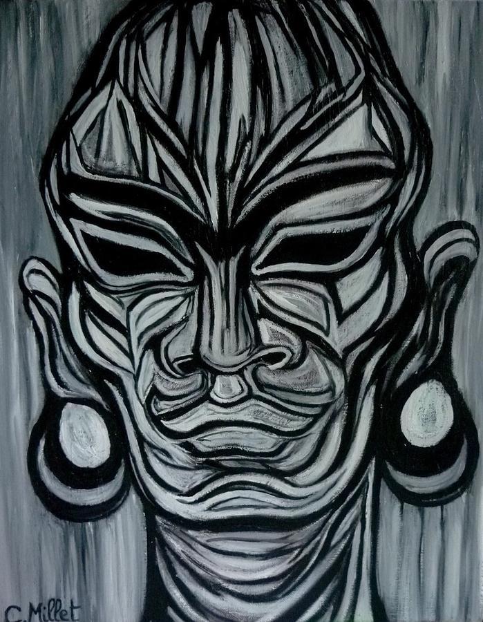 Frida Kahlo Painting - The Mask Of Frida - Le Masque De Frida by Cindy MILLET