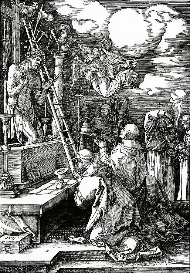 Kneeling Painting - The Mass Of St. Gregory by Albrecht Duerer