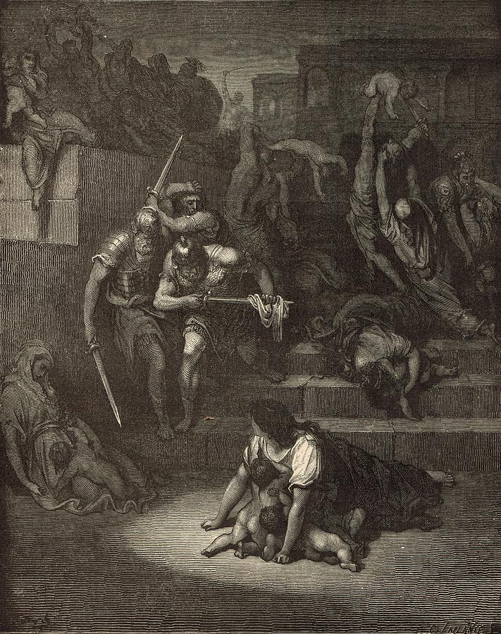 Biblical Drawing - The Massacre Of The Innocents by Antique Engravings