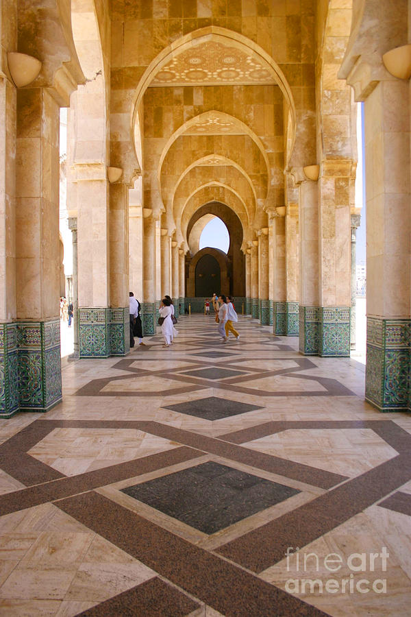 Colonnades Photograph - The Massive Colonnades at the Hassan II Mosque Sour Jdid Casablanca Morocco by PIXELS  XPOSED Ralph A Ledergerber Photography