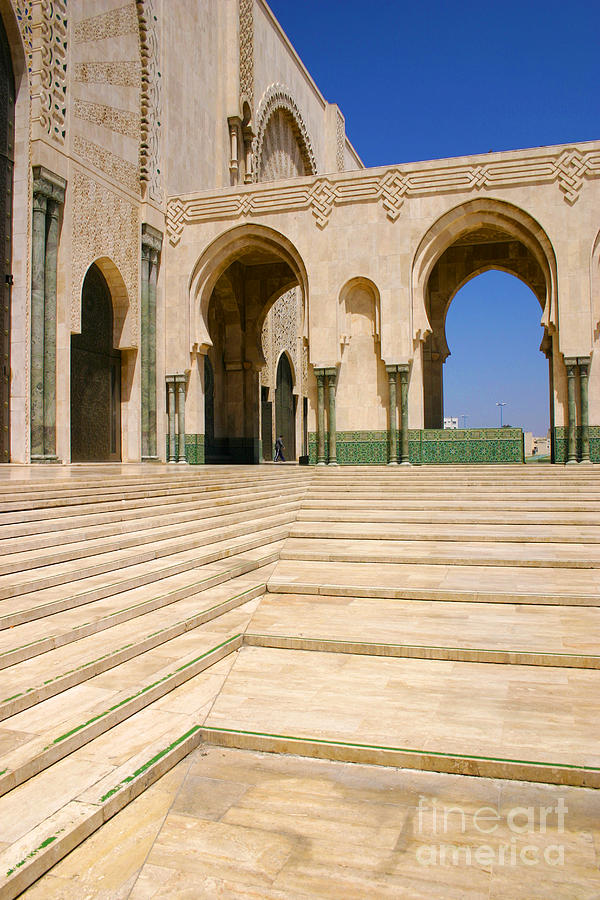 Casablanca Photograph - The Massive Colonnades Leading To The Hassan II Mosque Sour Jdid Casablanca Morocco by PIXELS  XPOSED Ralph A Ledergerber Photography
