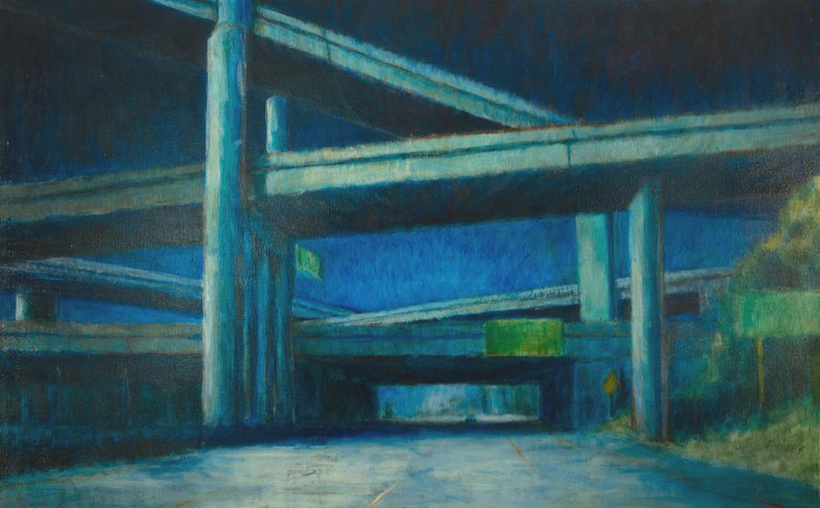 Freeways Painting - The Maze by Jeff Levitch