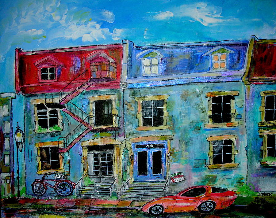 Bicycle Painting - The Mcgill Ghetto by Michael Litvack