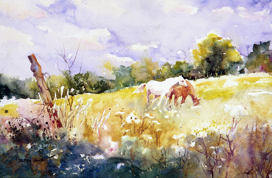 White Painting - The Meadow Above Giverny by Patton Hunter