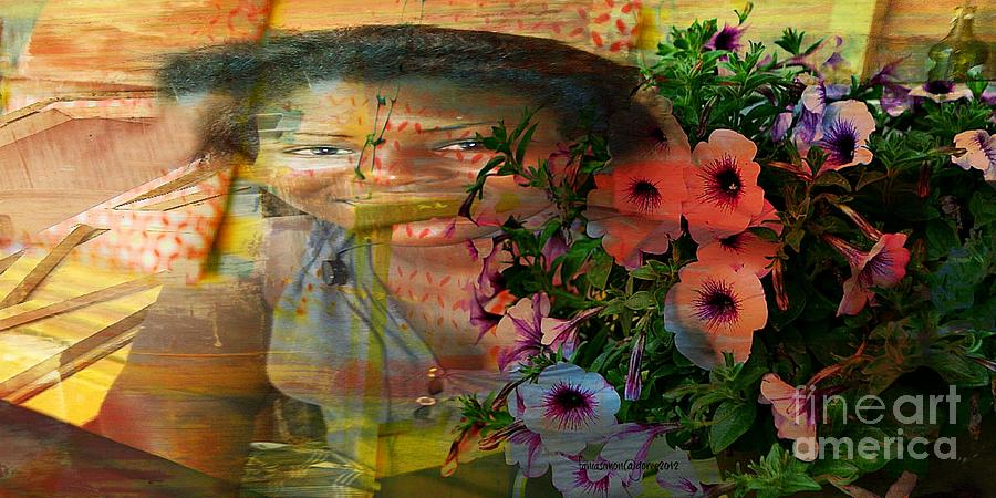 Fania Simon Mixed Media - The Memory Of A Village Girl by Fania Simon