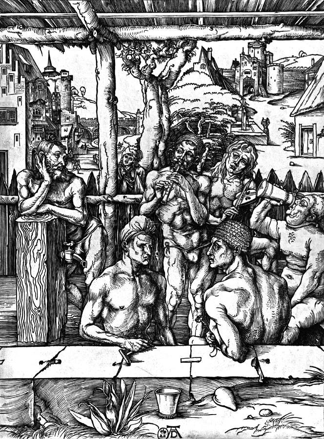 Male Drawing - The Mens Bath by Albrecht Durer or Duerer