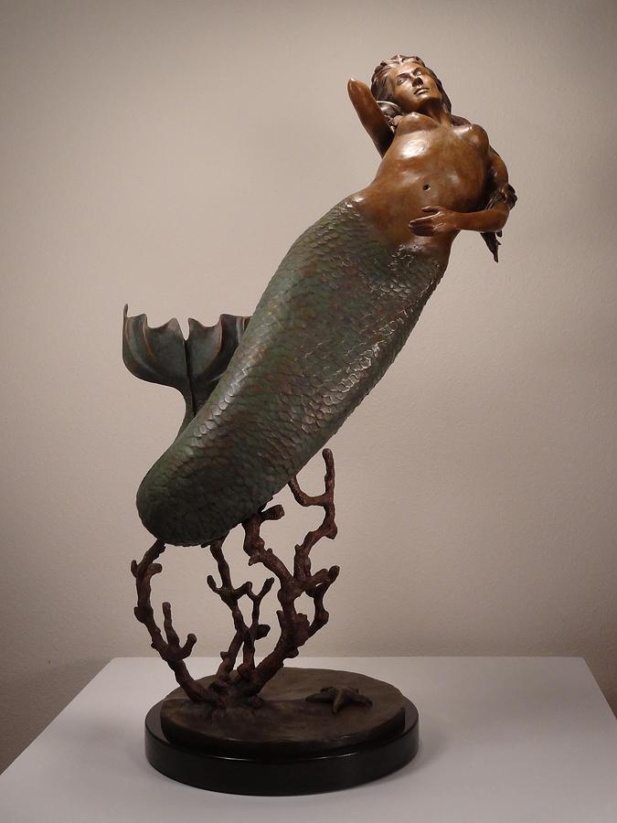Mermaid Sculpture - The Mermaid by Lisbeth Sabol