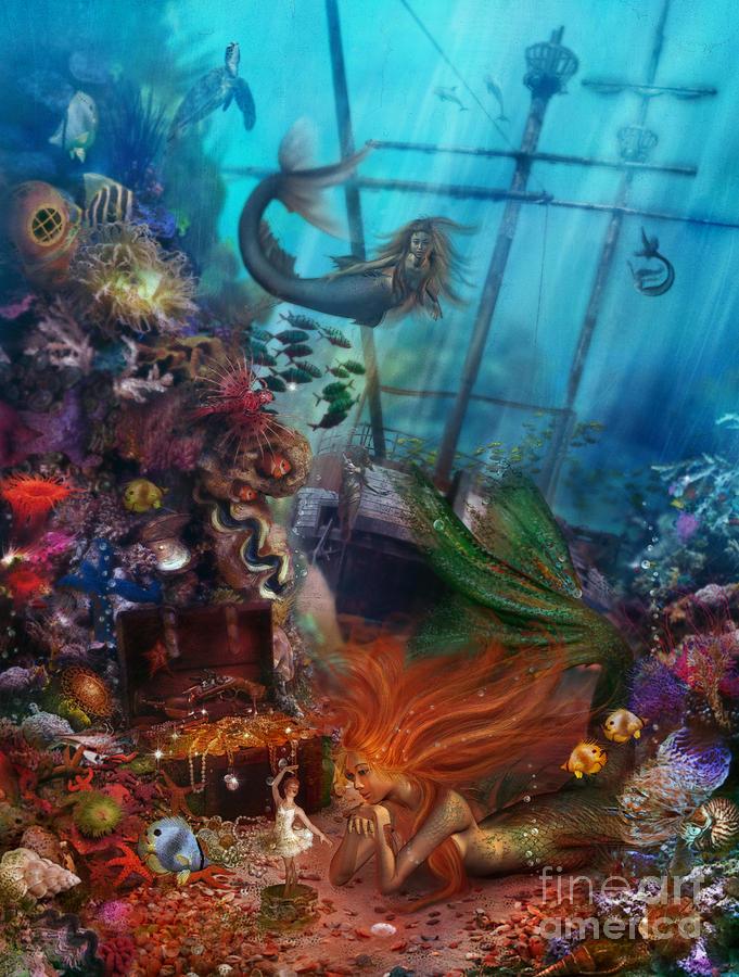 Animal Digital Art - The Mermaids Treasure by Aimee Stewart