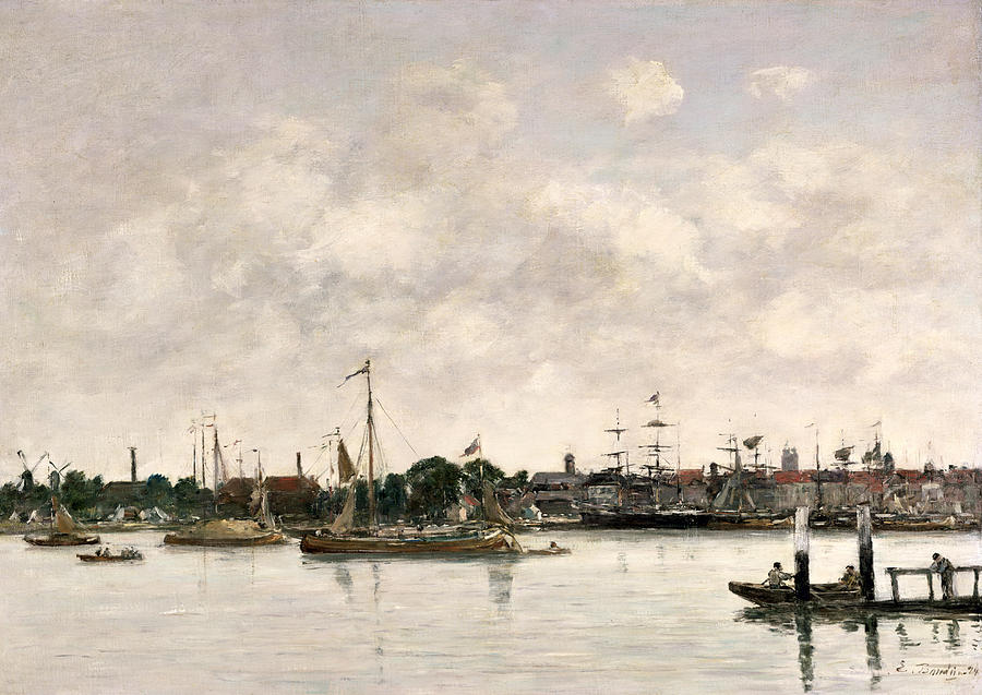 Boudin Painting - The Meuse At Dordrecht by Eugene Louis Boudin