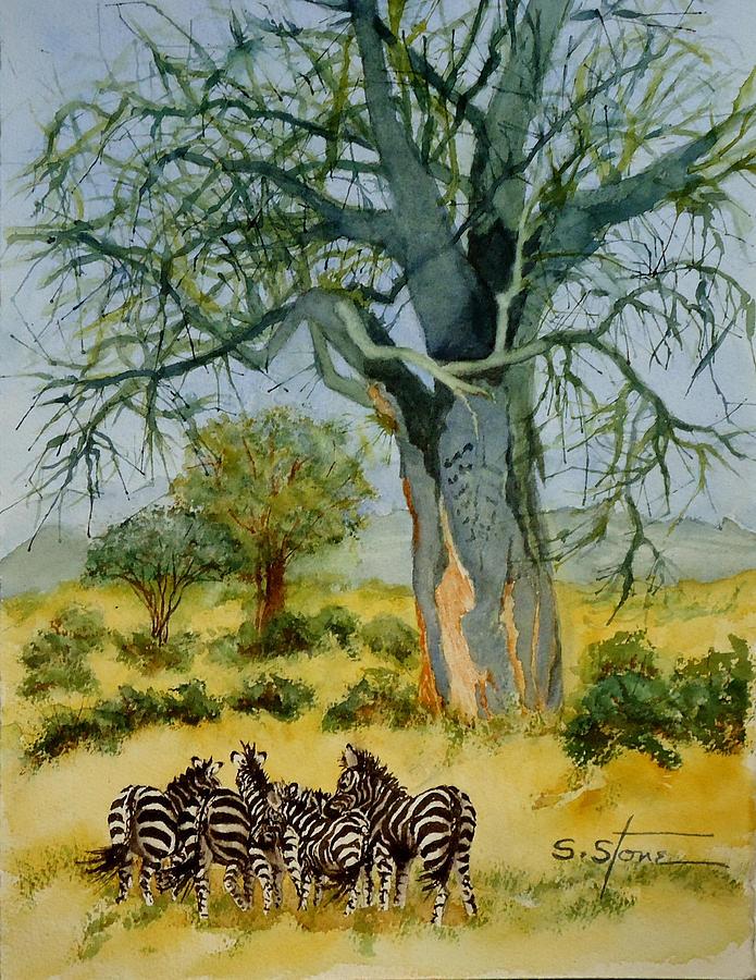 Tree Painting - The  Mighty Baobab Tree by Sandra Stone