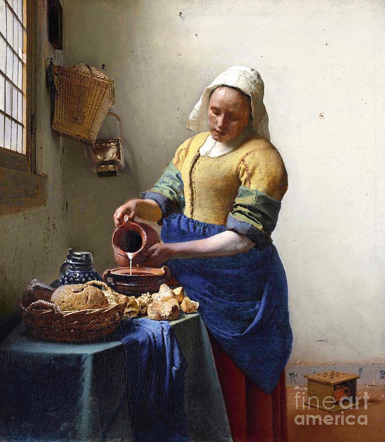 Female Painting - The Milkmaid by Jan Vermeer