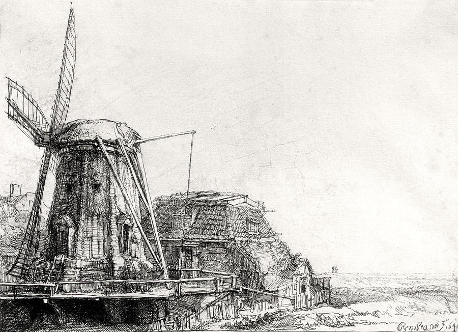 The Mill, 1641 Engraving Bw Photo Photograph by Rembrandt Harmensz ...