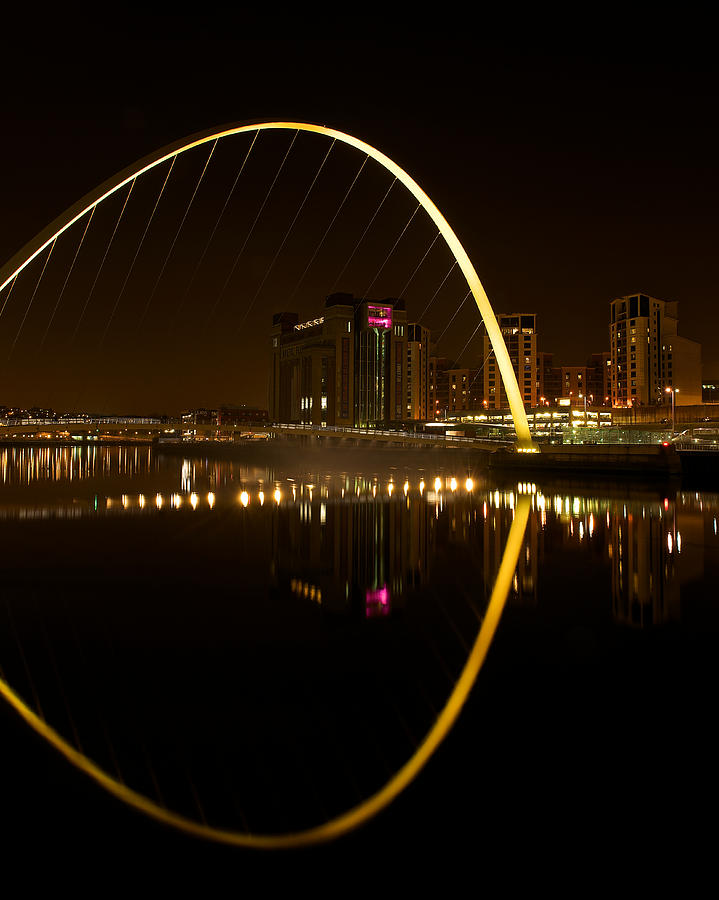 Newcastle Photograph - The Millenium Bridge At Night by Stephen Taylor