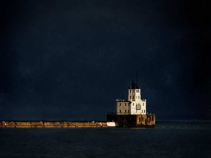 Lighthouse Digital Art - The Milwaukee Breakwater Lighthouse by David Blank