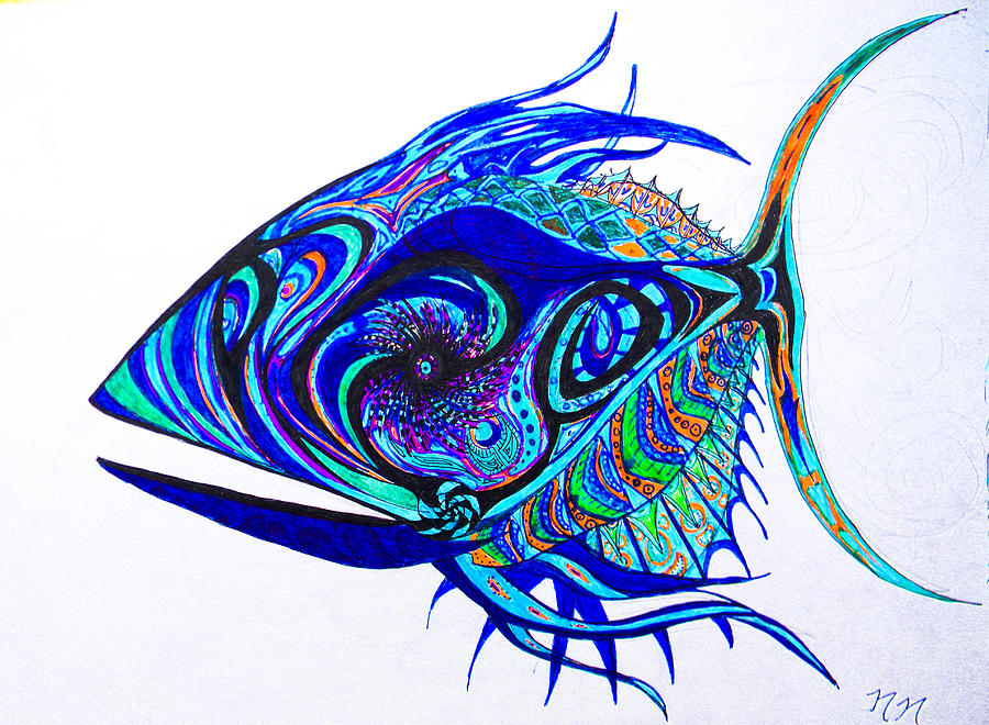 Fish Drawing - The Mind Aquarium by Nathan Newman
