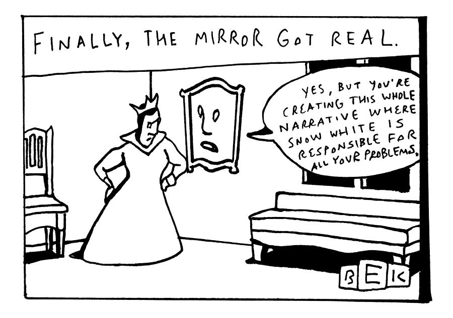 The Mirror On The Wall Says To The Queen Yes Drawing by Bruce Eric Kaplan