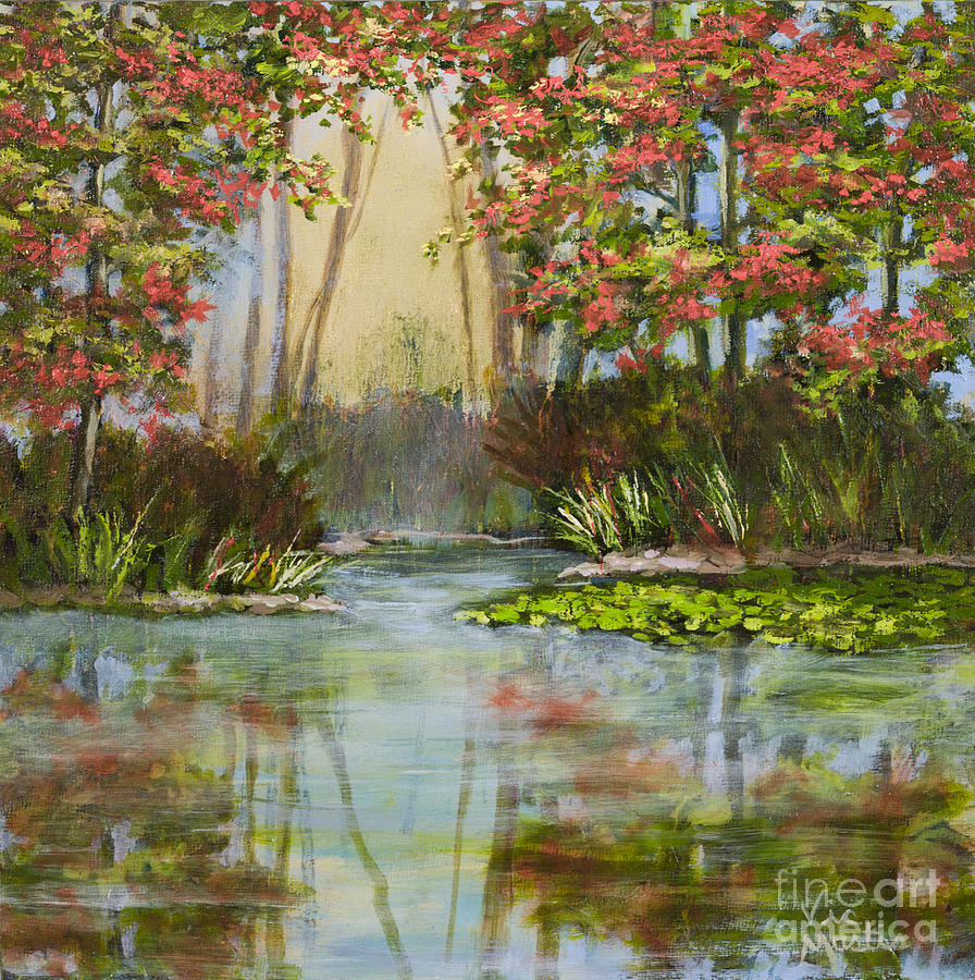 Autumn Painting - The Mist Beyond With Gold Leaf By Vic Mastis by Vic  Mastis