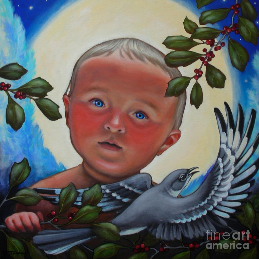 Baby Painting - The Mockingbirds Carol by Teri Tompkins