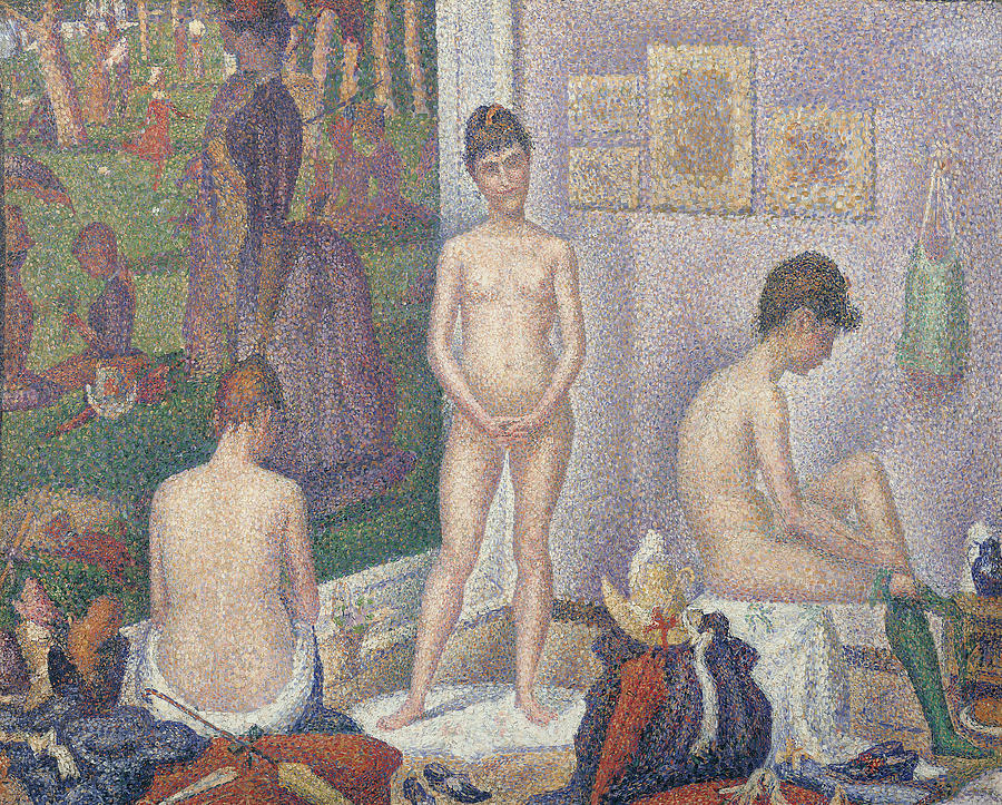 Nude Painting - The Models by Georges Pierre Seurat