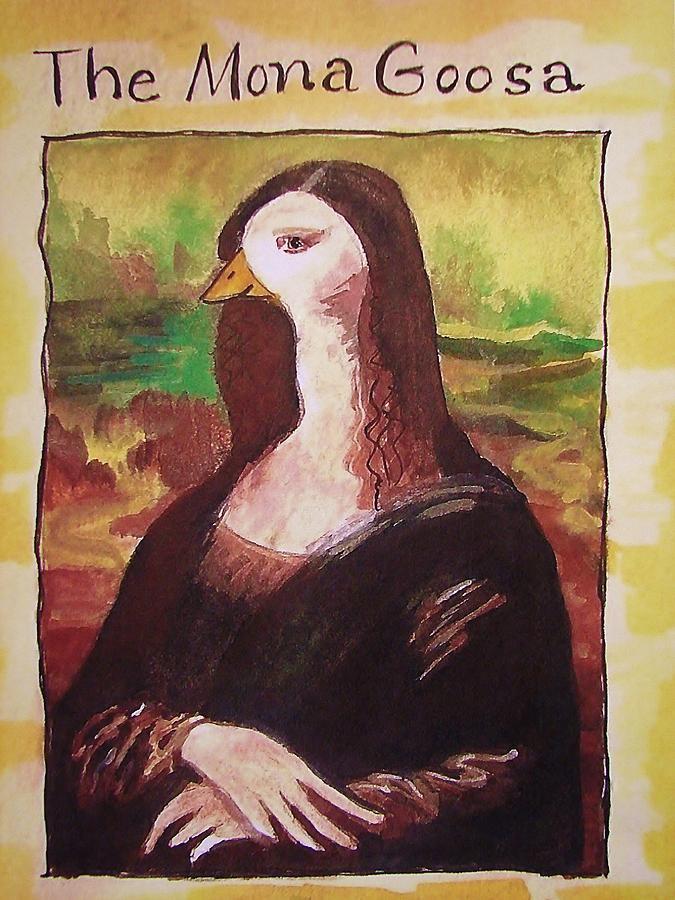 Cartoon Painting - The Mona Goosa by Margaret Bobb