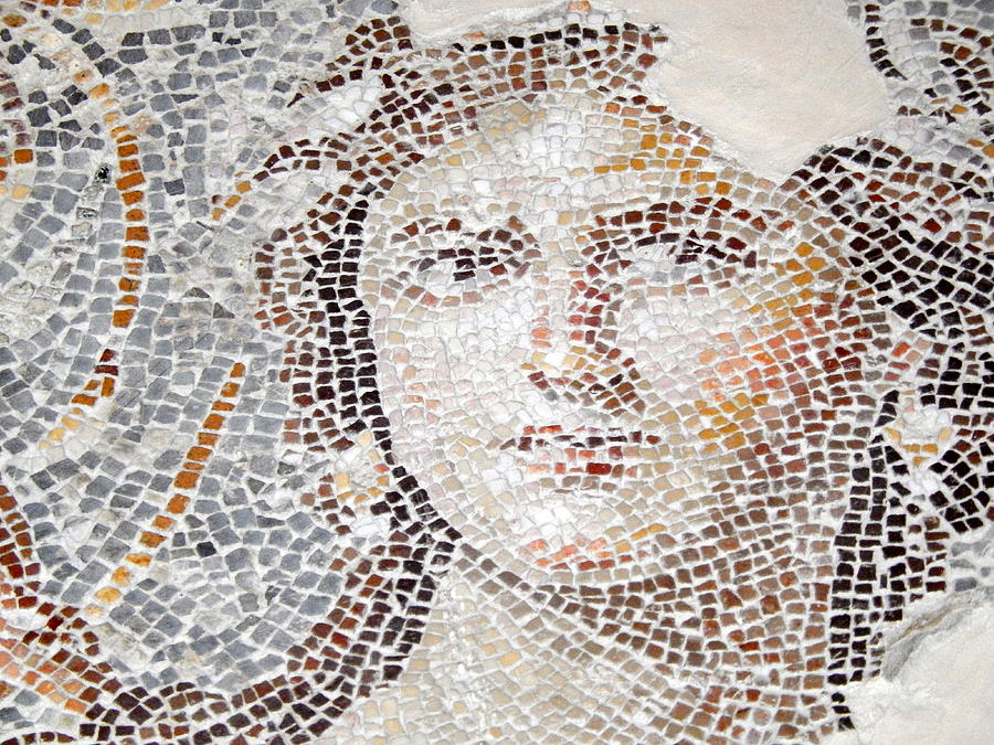The Mona Lisa Of The Galillee, A 1 800 Years Old, 2th Century Ce Mosaic Portrait In The Lower Galillee Photograph by by IAISI