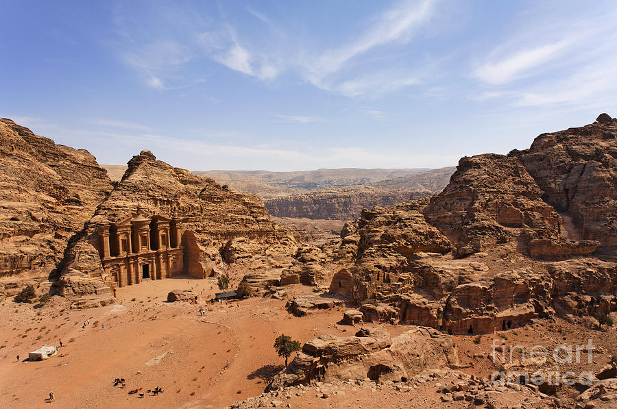 Petra Photograph - The Monastery And Landscape At Petra In Jordan by Robert Preston