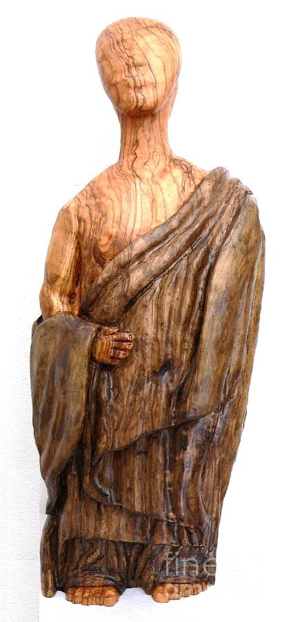 Olive Wood Sculpture - The Monk Peace And Wisdom by Eric Kempson