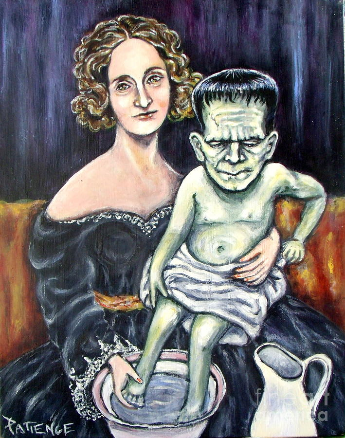 Frankenstein Painting - The Monsters Bath by Patience A